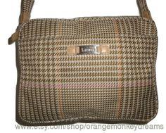 vintage ralph lauren tan pink houndstooth plaid shoulder bAG Purse handbag 638b424bf502f