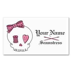 Sewing Skull (Pink) Business Card Templates. This great business card design is available for customization. All text style, colors, sizes can be modified to fit your needs. Just click the image to learn more!