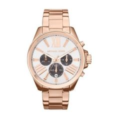 Pre-owned Michael Kors MK5712 Rose Gold Tone Chrono 43mm Women's Watch ($170) ❤ liked on Polyvore featuring jewelry, watches, preowned jewelry, pre owned watches, chronograph wrist watch, pre owned jewelry and michael kors watches