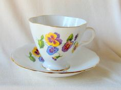 English Bone China Tea Cup Pansies by Windsor