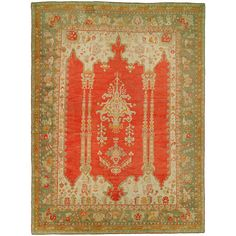 Apr 2020 - A truly divine antique Oushak masterpiece. Two identical scrolls in between an irregular set of palmettes running through coral ground with a delightful sage green and gold border. The piece is in mint condition too. Stair Rug Runner, Stair Rugs, Floral Rug, Tribal Rug, Rugs On Carpet, Carpets, Woven Rug, Oriental Rug, Runes