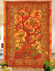 Lali Prints Ethical art Forest Hippie Tapestry, Hippy Mandala, Indian Dorm Decor, Tree of Life, Psychedelic Tapestry Wall Hanging Ethnic Decorative Tapestries (multi/orange) ** Read more reviews of the product by visiting the link on the image. (This is an affiliate link and I receive a commission for the sales)