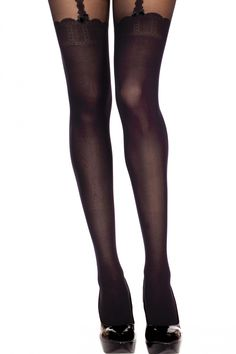 Lovely Legs - Sexy Faux Ribbon Suspender Design Tights