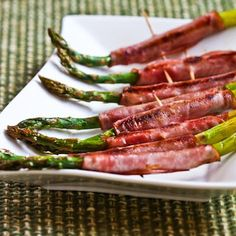 Recipe for Roasted Asparagus Wrapped in Ham; this is a delicious appetizer or buffet offering for Spring! [from Kalyn's Kitchen] #LowCarb #GlutenFree