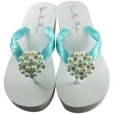 cc8c89028 Wedding Flip Flops -Pink   Ivory Pearl Chiffon Flower - Bride Wedge ...