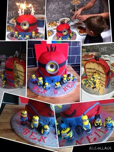 Spider-Man minion cake. Joint cake for my brother and nephew. Filled with jelly minions, foam bananas and blue and yellow smarties. Mini fondant minions including an appearance from batman and superman!!! Went down a treat