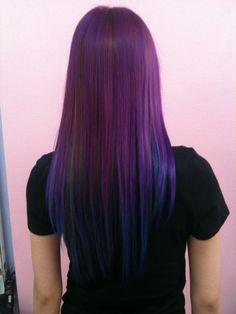 Blue & purple transitional hair #colour #hair #dye