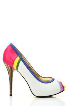 Fit for a unicorn. Colour Block Peep Toe Heels