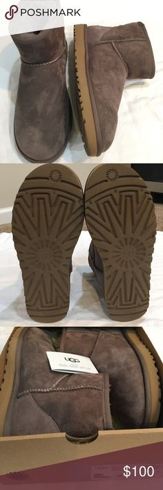 Like new UGG boots! Stormy grey color- tan soles Comes with original box and authentication tag. Size USA 8 Womens. Classic Mini II style. Like brand new, only worn twice! UGG Shoes Winter & Rain Boots