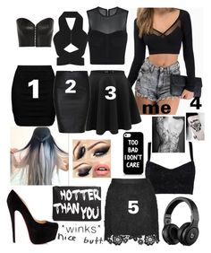 """black out party"" by grunge-girl-on-fleek ❤ liked on Polyvore featuring beauty, sass & bide, Kiki de Montparnasse, Zizzi, Dolce&Gabbana, Christian Louboutin, ASOS and Dion Lee"