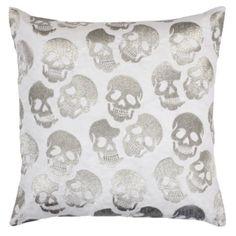 "Skull Pillow 24"" - Silver | Pillows | Bedding-and-pillows | Z Gallerie"
