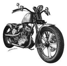 Drawing of Battistinis Custom Harley-Davidson bike by Miroslav Lucan (LucanArt). Framed original for sale