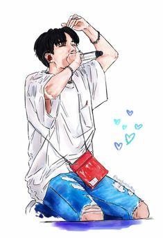 Cre: the owner/as logo Jhope, Hoseok Bts, Bts Anime, Anime Boys, Bts J Hope, Chibi Bts, Hope Art, Bts Gifs, Kpop Drawings