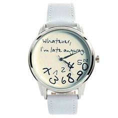 """DAYAN Unisex analoge Quarz-Uhr mit lustigen schriftlich """"Wie auch immer, ich bin Spät Anyway"""" Farbe Weiß - http://autowerkzeugekaufen.de/dayan/dayan-unisex-analoge-quarz-uhr-mit-lustigen-wie"""