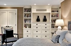 Crisp Architects | Bedroom built-ins Without going all the way to the ceiling...like the drawer and shelf combo
