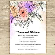 Peach and Lilac watercolour wedding invitation, by Rebecca Lancaster on Folksy, £2.15