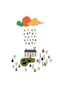Lovely Farm Colorful Cloud Rain Illustration Art by dekanimal, $18.00