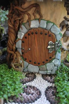 Hobbit house door Fairy house fairy garden miniatures at beneaththeferns.w…