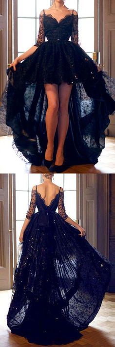 2017 Custom Made Black Lace Prom Dress,See Through Beading Evening Dress,Off The Shoulder Middle Sleeves Party Dress