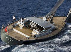 Saudade - Shipyard: WALLY Europe Type: Blue water fast cruising yacht. Hull: Carbon - Composite LOA: 148ft / 45m ◦ Beam: 8.57m ◦ Draft: 4.25 / 6.45