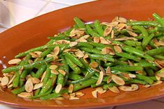 Get Tangy Almond Garlic String Beans Recipe from Food Network