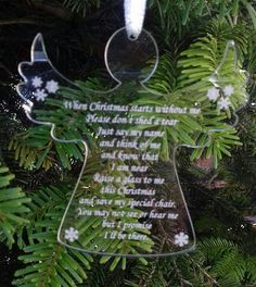 Memorial ANGEL Christmas Tree Decoration Christmas Without Me