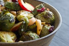 Roasted Brussels Sprouts & Apples (with walnuts and dried cranberries)