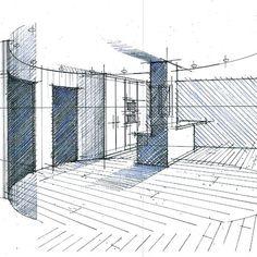 Croquis d'avant projet sommaire réalisés par l'agence de Philippe Ponceblanc Architecte d'intérieur