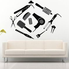 Wall Decal Decor Decals Art Hair Salon Hairdryer Beauty Mirror Lacquer Scissors Brush Forceps Curler Curling Styler (M739) DecorWallDecals http://www.amazon.com/dp/B00H2O9J4A/ref=cm_sw_r_pi_dp_YMk2ub0QTYDNG