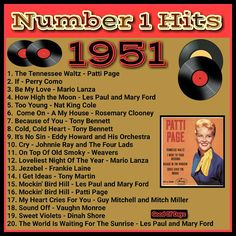 Funny this list is different lol 50s Music, Vintage Music, Song Playlist, Mp3 Song, Tennessee Waltz, Song Words, Song Of The Year, Music Hits, Vinyl Music