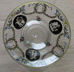 Antique-art-deco-boheme-haida-verre-fruit-bowl-decore-avec-des-fleurs-angelots