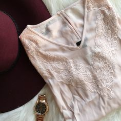 Blush Top Classy long sleeve lace top in pale blush. Get the sophistication of a lace blouse with this very nice top, sleeves different material (see last pic) NO TRADES Ann Taylor Tops