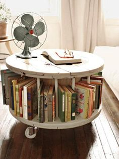 ROUND ROLLING BOOK CASE recycling for shelving, creative storage furniture design ideas