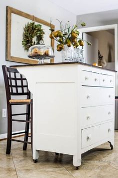 white dress as kitchen island