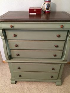 """@generalfinishes milk paint in Basil. Top was sanded & stained in GF's gel stain in the color """"Java"""". The Basil milk paint got a coat of GF's Van dyke brown glaze for an antique look. Entire piece was sealed with GF's Arm-R-Seal. Done by #rehabtofab"""