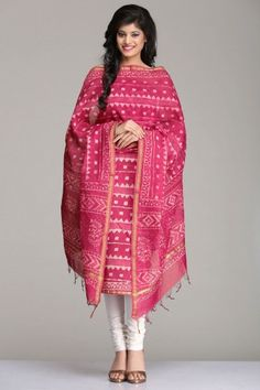 Mystical Onion Pink Chanderi Unstitched Kurta & Dupatta Set With Geometric Hand Block Print & Gold Zari Border