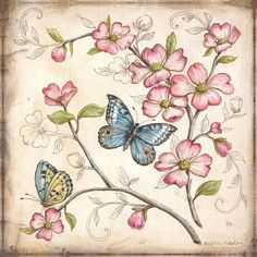 Blumenbilder für Decoupage – Gülser Baydar – Join the world of pin Decoupage Vintage, Vintage Diy, Vintage Paper, Images Vintage, Vintage Pictures, Butterfly Flowers, Beautiful Butterflies, Pink Flowers, Art Papillon