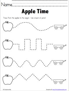 Apple Time - Free Fine Motor Tracing Practice for Apple Season Develop fine motor skills with this tracing activity. Use crayons or pencils. Tracing Practice Preschool, Preschool Apple Activities, Preschool Apple Theme, Preschool Writing, Free Preschool, Preschool Printables, Preschool Lessons, Kindergarten Worksheets, Letter Tracing Worksheets
