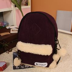 Color block vintage fashion preppy style casual all-match plush small fresh women's backpack