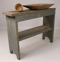 Primitive Painted Bucket Bench and woodenware : Lot 174  I have my grandmother's old bench!