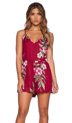 Band of Gypsies Floral Romper in Burgundy