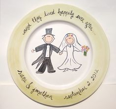 hand painted personalized cermaic wedding platter. $84.00, via Etsy.