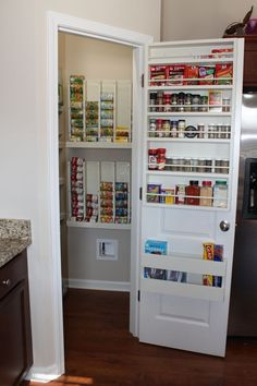 New indoor spice rack holder and rotating can dispenser! Our walk-in pantry is awesome! So thankful for all the new cabinet and drawer space that has now been freed up! Thanks Hubby!
