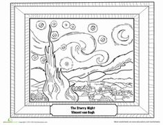 Fifth Grade Life Learning Art History Drawing & Painting Worksheets: Starry Night by Van Gogh