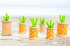 Easter and Spring Decorating Idea Box by Mary Beth how to make washi tape thread spool carrots, crafts, easter decorations, seasonal holiday decor Spring Projects, Spring Crafts, Holiday Crafts, Holiday Decor, Holiday Ideas, Christmas Gifts, Bunny Crafts, Easter Crafts For Kids, Easter Decor