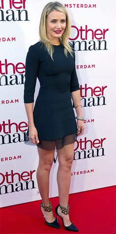 At The Other Woman premiere, Cameron Diaz worked a Dior LBD, chunky-strap Brian Atwood pumps, and a deep red lip.