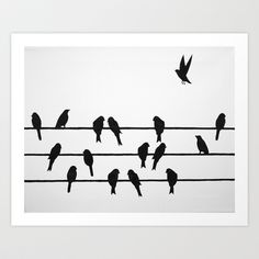 Birds on a Wire Art Print by Eh No