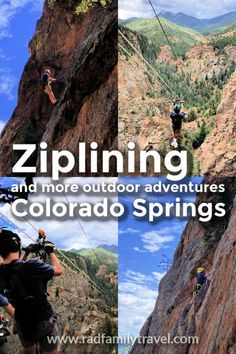 Ziplining in Colorado Springs via Soaring Adventure is a thrilling half day with older kids and teenagers at Seven Falls with Broadmoor Outfitters. Not only do you get to ride 5 different ziplines over South Cheyenne Cañon, you also witness a natural wonder up close: the cascading waterfalls known as Seven Falls.