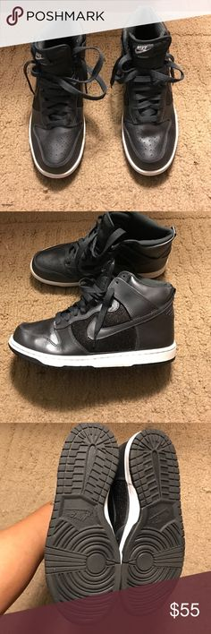 Nike Dunk hi-top glitter black metallic size 10 Women's size 10 Nike Dunks hi-top gently used Nike Shoes Sneakers