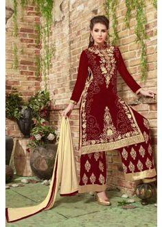 couleur marron georgette salwar kameez, - 89,00 €, #Modebollywood #Kameezfemme #Salwarkameezfrance #Shopkund